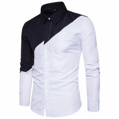 Mens Cotton Black White Stitching Color Shirts Casual Slim Fit Fashion Man Lapel Large white m