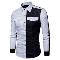 Spring New Men's Slim Stitching Color Shirts Fashion Cotton England Style Long Sleeve Shirts Men white m