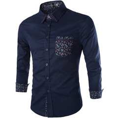 New Cotton Colorful Pocket Long Sleeve Slim Shirts Mens Fashion Stitching Color Cardigan Shirts Male navy m