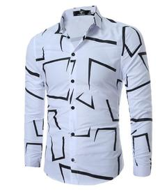 en Shirt  Fashion Casual Slim Geometric Print Long Sleeve Shirt white m