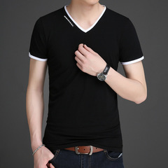 New Mens T Shirts Fashion Summer V-Neck Slim Fit Short Sleeve T Shirt Men black m cotton