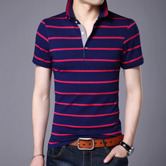 Casual Striped Print Short Sleeve New Top Men Brand Clothing Cotton T-Shirt red m cotton