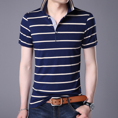 Casual Striped Print Short Sleeve New Top Men Brand Clothing Cotton T-Shirt navy 4xl cotton