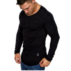 High-elastic Cotton T-shirts Mens Long Sleeve O Neck Tight T Shirt Solid Color Casual black m polyester,cotton