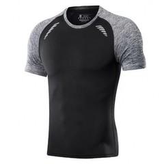 Men Shirt O-Neck Short Sleeve Casual T Shirt Men Fashion Slim Fit Bodybuilding Tops Tee XXL black m polyester,cotton