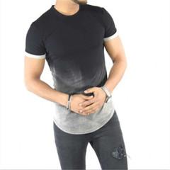 Cotton Silk T Shirt Gradient Printed T-Shirts Short Sleeves Hip Hop gray m polyester,cotton