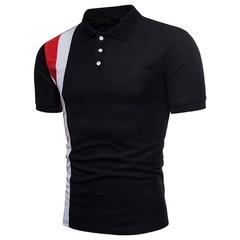 Men's Polos Breathable Cotton Short Sleeve Boys Polo Shirts Casual Turndown Collar Patchwork black m cotton