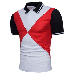 Men's Polos Breathable Cotton Short Sleeve Boys PoloCasual Turndown Collar Patchwork Male red m cotton
