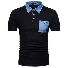 Summer Short Sleeve Polo Shirt Men's Fashion Pocket Breathable Casual Male Polo Shirts black m polyester,cotton