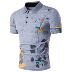 Men Polo Shirt Casual Short Sleeve Male Cotton Polo Shirt Print Slim Fit Camisa Polo Shirt gray m polyester