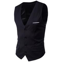Men's Business Casual Slim Vests Fashion Men Solid Color Single Buttons Vests Fit Male Suit balck m