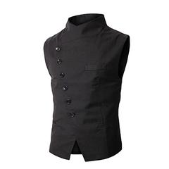Mens Vest Fashion Brand Vest Men High Quality Black Gray Formal Business Men Fit Suits & Blazer balck m
