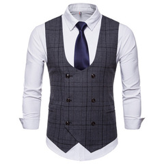 Plaid Vest Gentleman Business Man Formal Suit Blazers Coat For Formal Occasion Wedding balck m