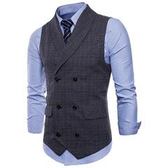 intage Tweed Vest Fashion Spring Autumn Plus Size Waistcoat dark gray m