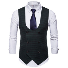 Man's Vest Vintage Waistcoat U-shaped Collar Houndstooth Men's Casual Vest Male Clothing balck m