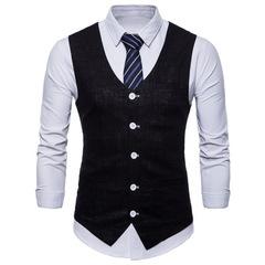 Style Men's Candy Color Cotton Slim Suit Vest 2018 Men's Casual Solid Color Single-breasted Vest balck m