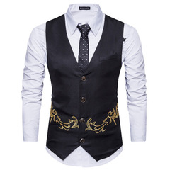 New Embroidered Men's Self-cultivation Vest Sleeveless Four Button Casual Male Wild Suit Vest balck m