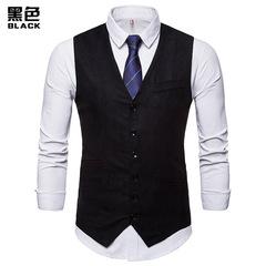 Wedding Suit Vest Men Chalecos Para Hombre Formal Dress Party Vest Male Sleeveless balck m