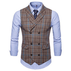 Men Suit Vest Slim Double Breasted Waistcoat Gilet Business Social Blazer Wedding Groom Best Men khaki m
