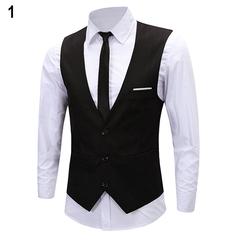 Men's Classic Formal Business Slim Fit Chain Dress Vest Suit Tuxedo Waistcoat balck m
