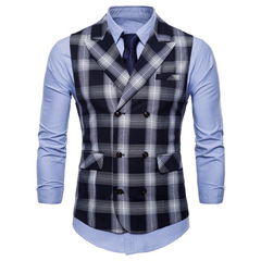 Men Vest Red Plaid Vest Single Breasted V-neck Collar Casual Style Slim Fit Wedding Party Wear balck m