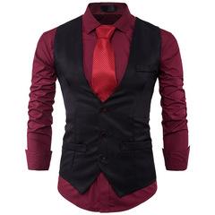 Men's Fashion Slim Suit Vest Single Row Three Button Lapels Solid Color Gentleman Male Vest balck m