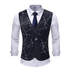 ens Hipster Fake Two Piece Suit Vest  Fashion Geometric Print Sleeveless Waistcoat balck m