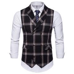 Classic Plaid Suit Vest Men Slim Fit Double Breasted Vest Waistcoat Mens Business Wedding balck m