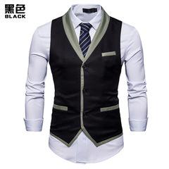 Vests For Men Slim Fit Mens Suit Vest Male Waistcoat Gilet Homme Casual Sleeveless Business Jackets balck m
