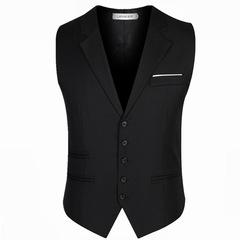 l Business Blazer Vests Slim Fit Chain Dress Vest Suit Tuxedo Waistcoat waiter male suits Vests balck m
