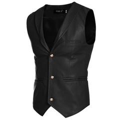 Jacket Vests Men Red White Black Single Breasted V Neck Mens Waistcoat Slim Fit Sleeveless Coat Male balck m