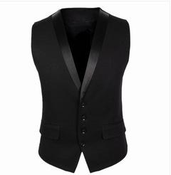 New Arrival Men Suit Vest Brand Clothing Sleeveless Dress Man Business Blazer Tops Slim balck m
