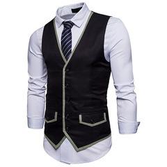 Mens Suit Vest Waistcoat Male Spell color Business Wedding Classic Colete Masculino Slim Fit Vest balck m