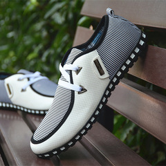 Fashion Driving Shoes Men Flats Slip On Loafers italian Flat Shoes Men Casual Shoes Zapatillas white 39