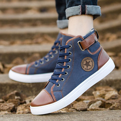 Men's Vulcanize Shoes Sneakers Men Trainers Lace-up Chaussure Homme Sport Canvas dark blue 39