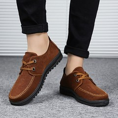 CASUAL Breathable Non-Slip Shoes Casual Shoes Lace-Up Shoes Round Toe Flat Shoes brown 39