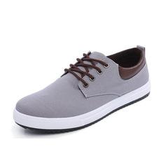 comfortable casual shoes canvas shoes men men's lace up the fashion brand Flats shoe gray 39