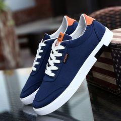 Fashion Casual Students White Board Shoes Men Trend of Breathable Canvas Shoes Sneakers navy 39