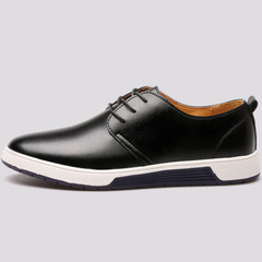Men Shoes Casual Leather Fashion Trendy Men Flats Ankle Shoes Drop Shipping black 39