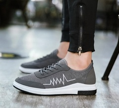 Men Shoes New  Canvas Men Casual Shoes Breathable Round Lace-Up Flats British Style Mens Shoes gray 39
