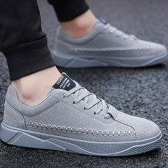 Men's Vulcanize Shoes lace-up solid shallow fashion male sneakers cotton fabric gray 39