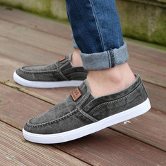 Canvas Shoes Men Sneakers Casual Flats Slip On Loafers Moccasins Male Shoes gray 39