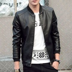 Autumn Men's Leather Coat Korean Slim Fit Leather Jackets Fashion Casual Outwear for Man Jacket black m