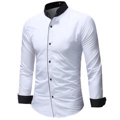 Men Shirt  Business Standing collar Men'S Slim Fit Dress Shirt Male Long Sleeves Casual Shirt white m