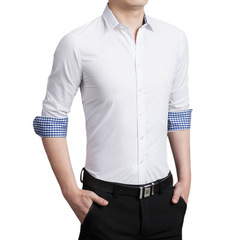 Long Sleeve Men'S Shirt Slim Fitness Solid Business Mens Dress Shirts Plus Size 5XL Camisa Social white m