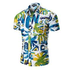 Men Short Sleeve Mens Beach Shirt Cool Summer Coconut Print Camisa Social Masculina Male Shirts green m