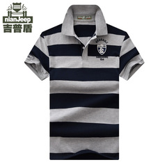 England Style Design 92% Cotton camisa Men Polo Shirt Casual Striped Slim Short Sleeves Plus ASIAN gray m pure cotton