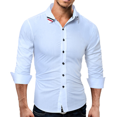 Casual Shirts Men Hot Sale Dress Shirts Brand Fashion Camisa Masculina Plus Size Casual Men Shirts white m