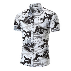 Men Short Sleeve Shirt Beach Shirts Mens Camouflage Print Shirts Hawaiian Camisa Social Masculina white m