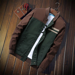 Autumn men's jacket Cultivate one's morality short paragraph matching collar jacket baseball uniform coffee m
